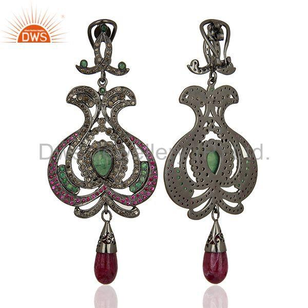 Exporter Pave Diamond Ruby Gemstone 925 Sterling Silver Earrings Supplier
