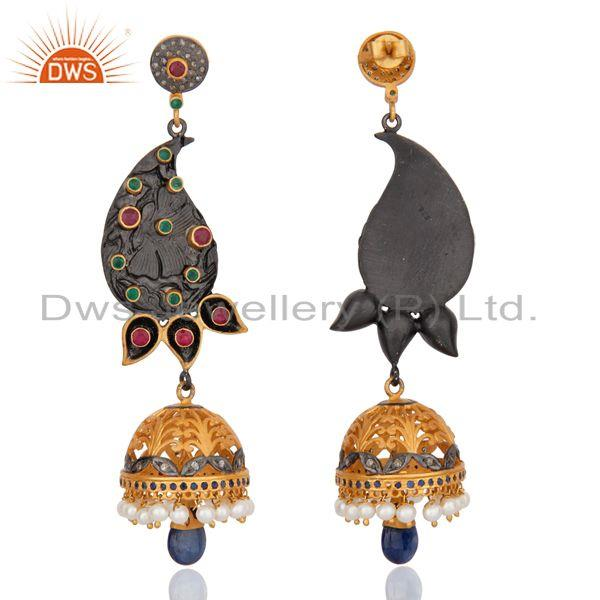 Exporter Indian Designer Sterling Silver Pave Diamond Ruby Emerald DrOP Pearl Jhumka Earr