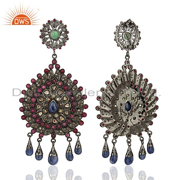 Exporter Designer 925 Sterling Pave Diamond Gemstone Earrings Jewelry Supplier