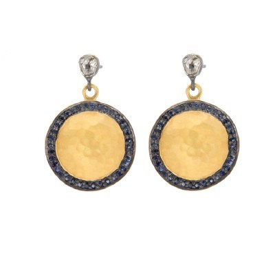 Exporter 18K Gold Plated Sterling Silver Rose Diamond And Blue Sapphire Disc Earrings