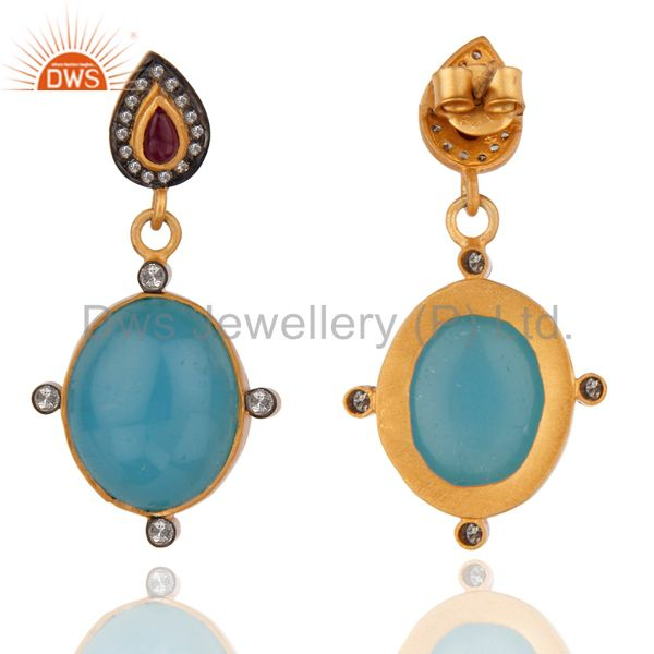 Exporter Pave Diamond Drop 18K Yellow Gold Over Sterling Silver Blue Chalcedony Earrings