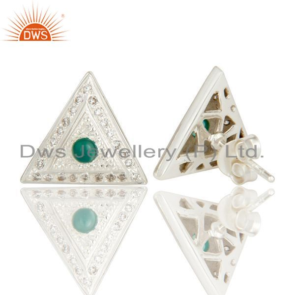 Exporter Solid Sterling Silver Green Onyx And CZ Stud Earrings For Her