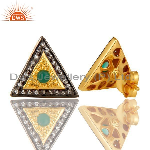 Exporter 14K Yellow Gold Plated Sterling Silver Green Onyx And CZ Stud Earrings For Her