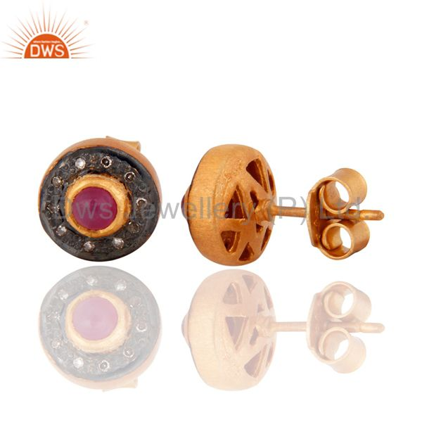 Exporter Pave Diamond Ruby Gemstone Stud Earring 925 Sterling Silver Gold Plated Jewelry