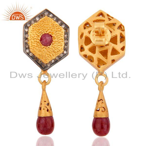Exporter 925 Sterling Silver Pave Set Diamond Natural Ruby Gemstone Drop Fashion Earrings