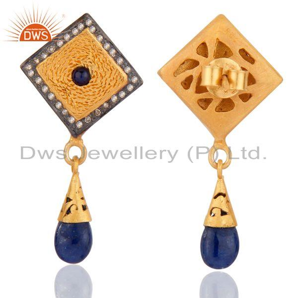 Exporter Natural Real Pave Diamond Blue Sapphire 925 Sterling Silver Fashion Drop Earring
