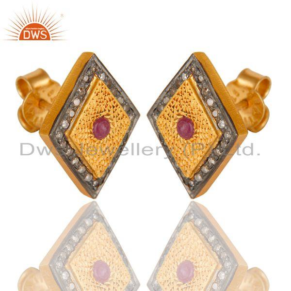 Exporter 925 Sterling Silver Ruby Gemstone Pave Diamond Stud Earring With Gold Plated