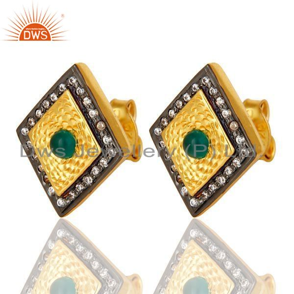 Exporter 14K Yellow Gold Plated Sterling Silver Green Onyx And CZ Womens Stud Earrings