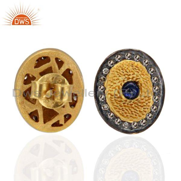 Exporter 18K Gold Over Sterling Silver Blue Sapphire Gemstone Pave Diamond Stud Earrings
