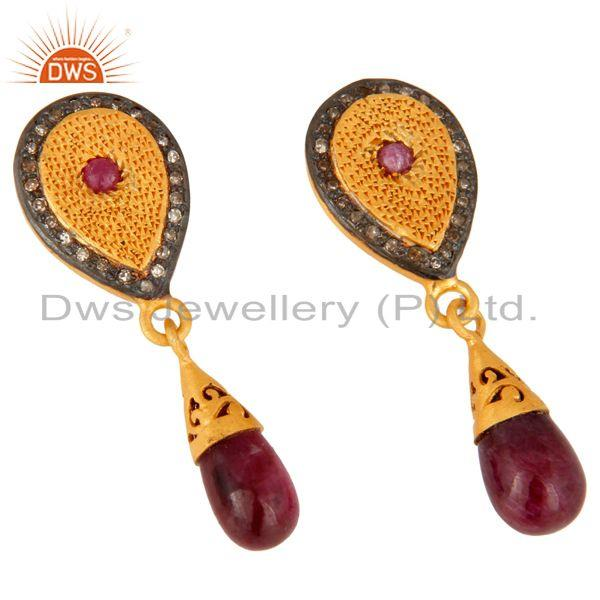 Exporter Gold Plated 925 Sterling Silver Pave Diamond Gemstone Drop And Dangle Earrings