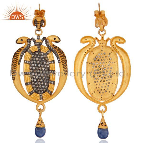 Exporter Blue Sapphire Pave Diamond Vintage Snake 925 Silver Occasion Designer Earrings
