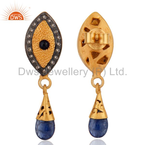 Exporter 925 Sterling Silver Pave Diamond Blue Sapphire Drop Earring For Womens Jewelry