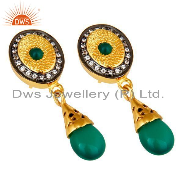 Exporter 14K Yellow Gold Plated Sterling Silver Green Onyx Fashion Drop Earrings With CZ