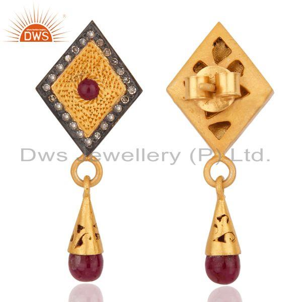 Exporter 18k Gold over 925 Sterling Silver Genuine Ruby Pave Diamond Drop Dangle Earrings