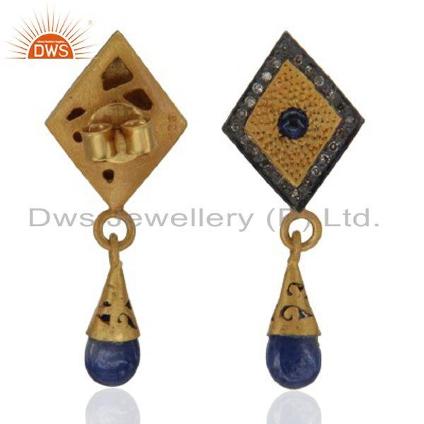Exporter 925 Sterling Silver Genuine Sapphire and Pave Diamond Dangle Post Stud Earrings