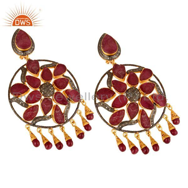 Exporter 18K Gold Sterling Silver Ruby And Pave Diamond Wedding Chandelier Earrings