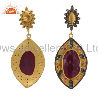 Exporter 18K Gold Sterling Silver Ruby And Pave Set Diamond Vintage Dangle Earrings