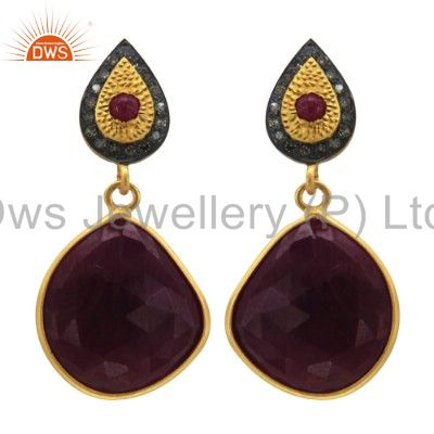 Exporter Ruby Slice Gemstone Pave Diamond 18k Gold Plated 925 Sterling Silver Earrings
