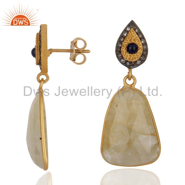 Exporter Handmade Pave Diamond Yellow Sapphire Drop Earrings 925 Sterling Silver Jewelry
