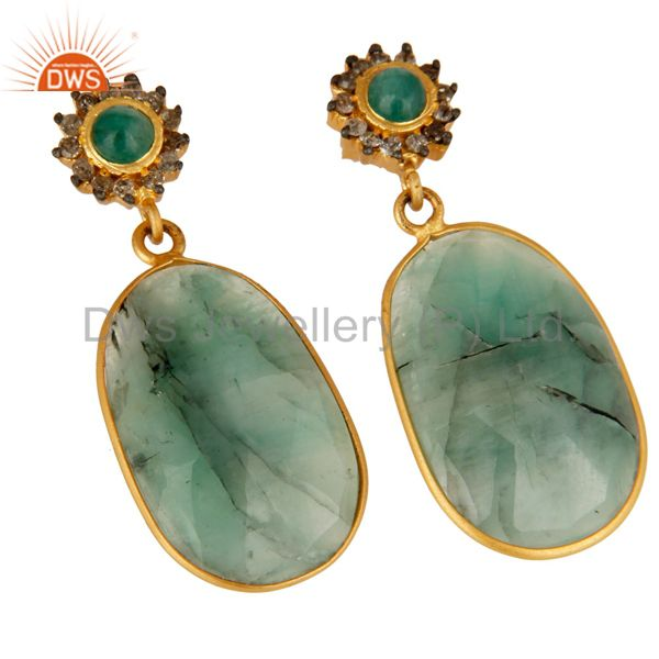 Exporter 18K Yellow Gold Sterling Silver Pave Diamond And Emerald Bezel Set Drop Earrings