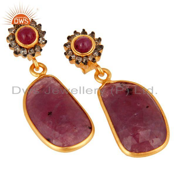 Exporter Sterling Silver Pave Diamond Ruby Gemstone Bezel Set Dangle Earrings Jewelry
