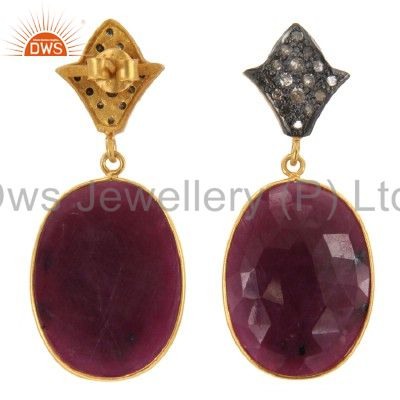 Exporter 14K Yellow Gold Over Sterling Silver Pave Set Diamond And Ruby Dangle Earrings