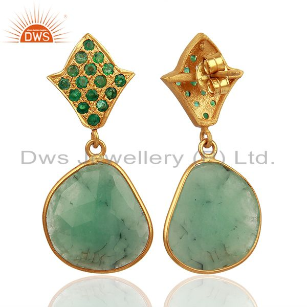 Exporter Natural Emerald Gemstone 925 Silver Womens Earrings Jewelry Supplier