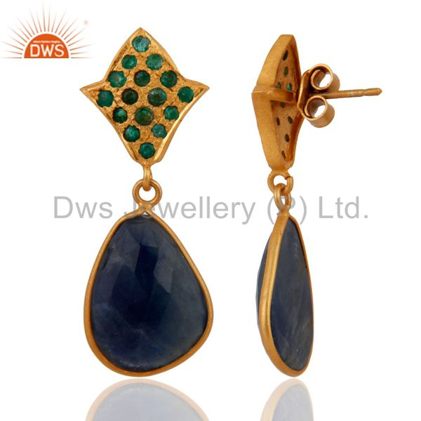 Exporter 18K Gold Over 925 Sterling Silver Emerald Blue Sapphire Slice Drop Stud Earrings