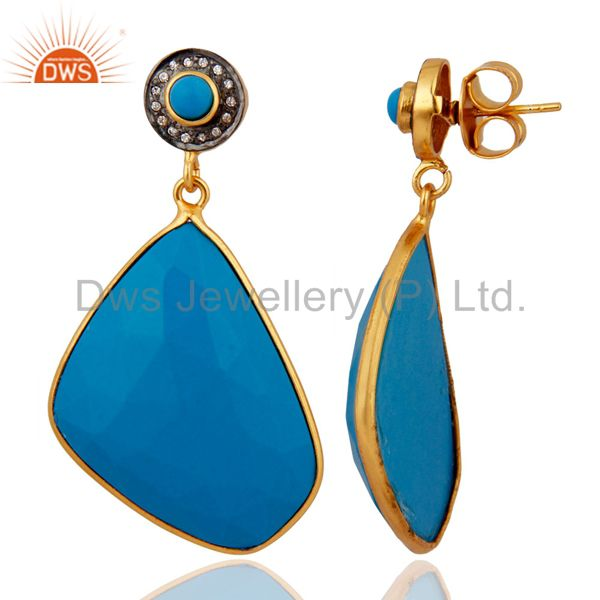 Exporter Handcrafted 18K Yellow Gold Plated Turquoise Gemstone Designer Dangle Earrings