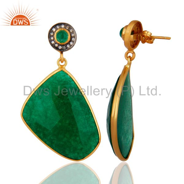 Exporter Faceted Green Aventurine Gemstone Bezel Set 18K Gold Plated Earrings With CZ