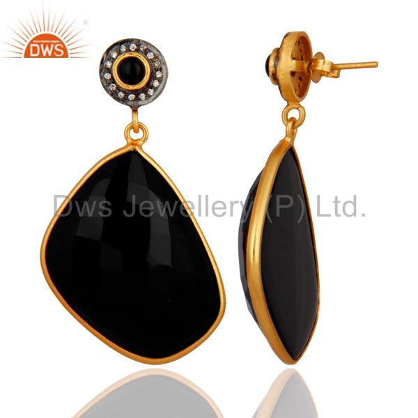 Exporter 22K Yellow Gold Plated Brass Black Onyx Bezel Set Dangle Earrings With CZ