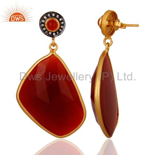 Exporter Faceted Red Onyx Gemstone Bezel-Set Dangle Earrings With Yellow Gold Plated