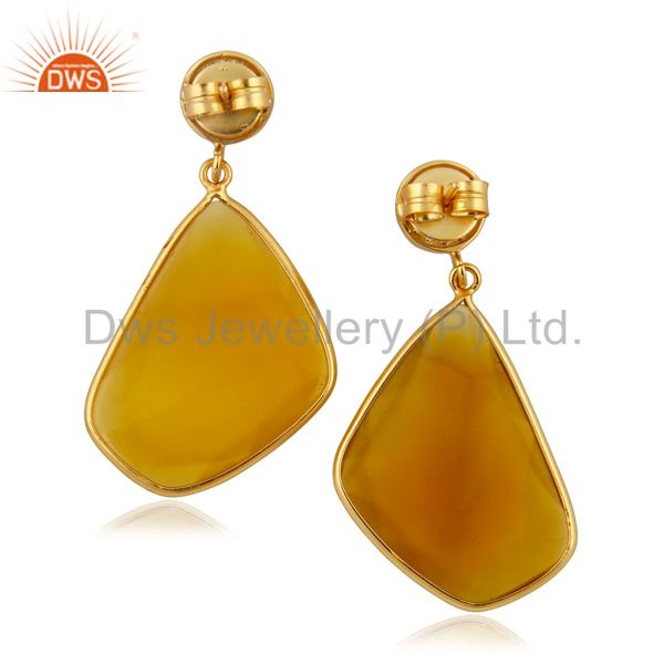 Exporter 22k Yellow Gold Plated Yellow Natural Chalcedony Gemstone Slice Dangle Earrings