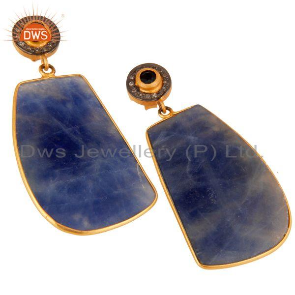 Exporter Pave Diamond 18K Gold Plated Sterling Silver Blue Sapphire Dangle Earring