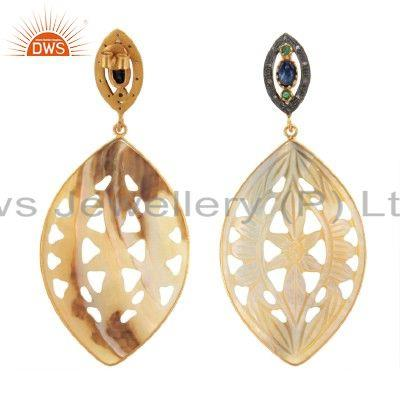 Exporter 18K Gold Sterling Silver Pave Diamond And Carved Mother Of Pearl Dangle Earrings