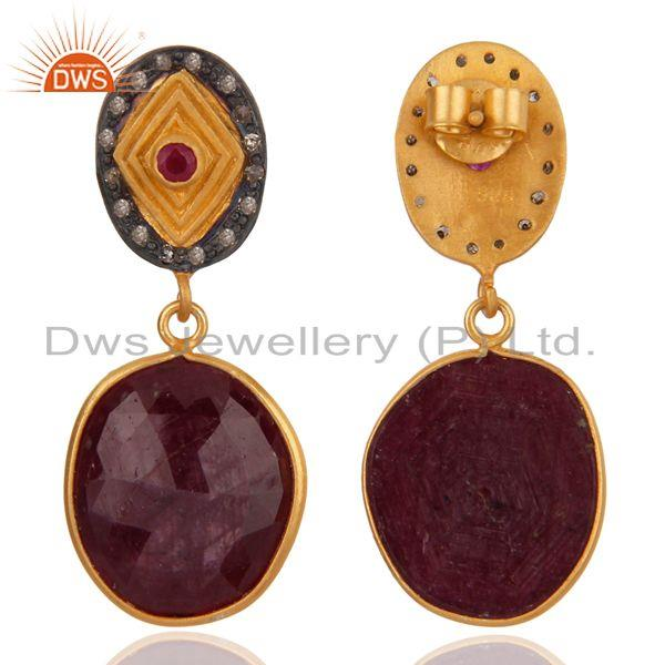 Exporter 18K Gold Plated 925 Sterling Silver Pave Diamond Ruby Earrings Women Jewelry