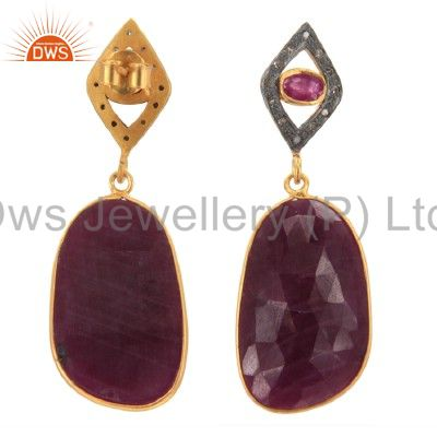 Exporter 18K Gold Sterling Silver Pave Set Diamond And Ruby Gemstone Drop Earrings