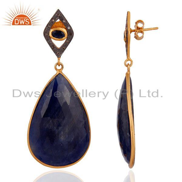 Exporter Blue Sapphire Slice Pave Diamond Gold Plated 925 Sterling Silver Women Earrings
