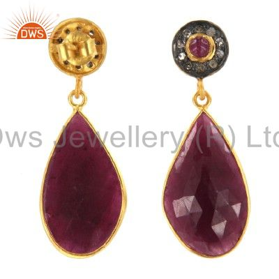 Exporter 18K Yellow Gold Over Sterling Silver Pave Diamond And Ruby Teardrop Earrings