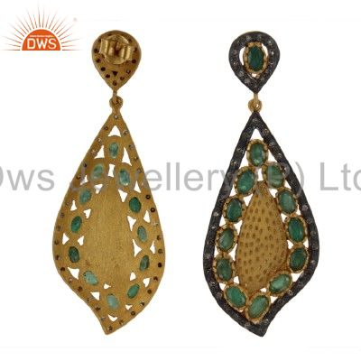 Exporter 18K Yellow Gold And Sterling Silver Pave Diamond Emerald Designer Earrings