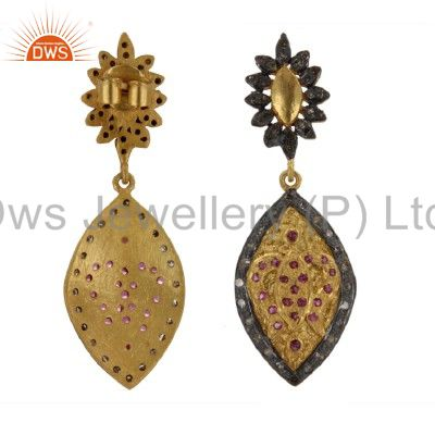 Exporter 18K Yellow Gold And Sterling Silver Ruby And Pave Set Diamond Dangle Earrings