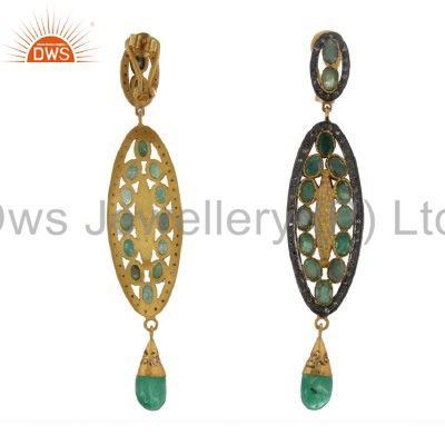 Exporter 14K Yellow Gold Over Sterling Silver Pave Set Diamond Emerald Dangle Earrings