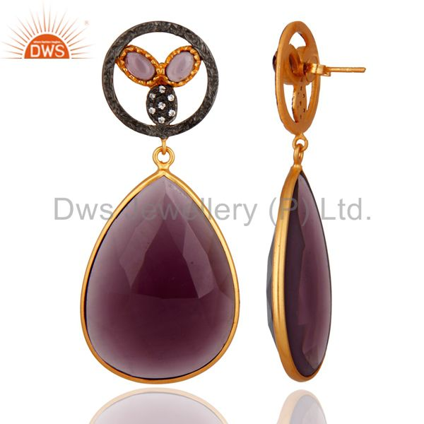 Exporter 22K Yellow Gold Plated Sterling Silver Hydro Amethyst Gemstone Dangle Earrings