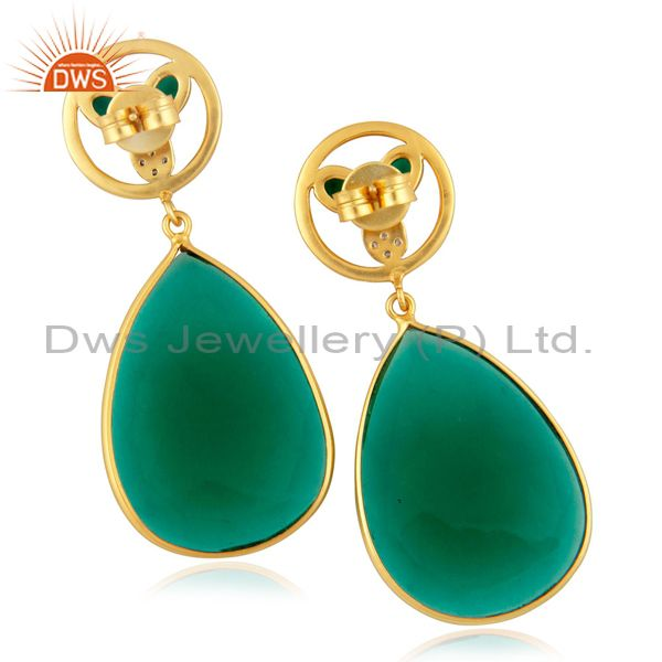 Exporter Dyed Green Glass Faceted Gemstone Bezel-Set Gold Plated Dangle Earrings With CZ