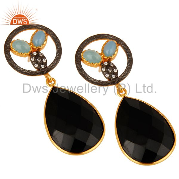 Exporter 18K Gold Plated Aqua Blue Chalcedony And Black Onyx Bezel Set Drop Earrings