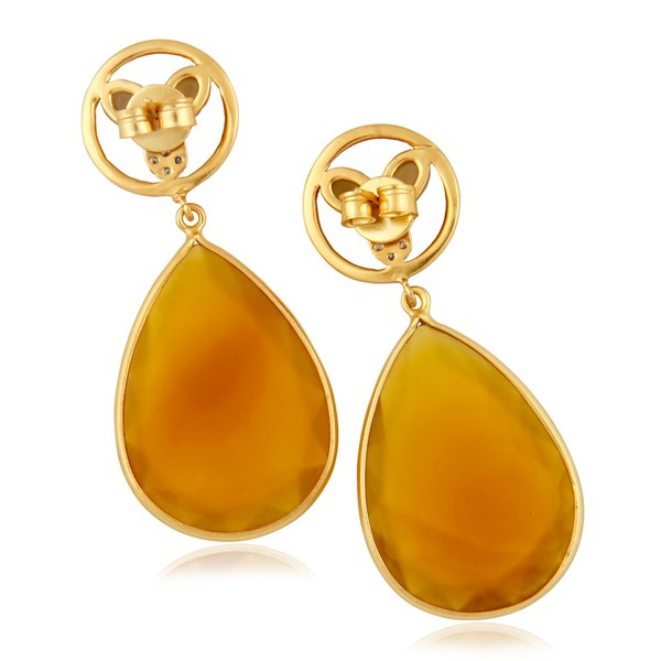 Exporter 14K Yellow Gold Plated Brass CZ & Yellow Chalcedony Bezel Set Teardrop Earrings