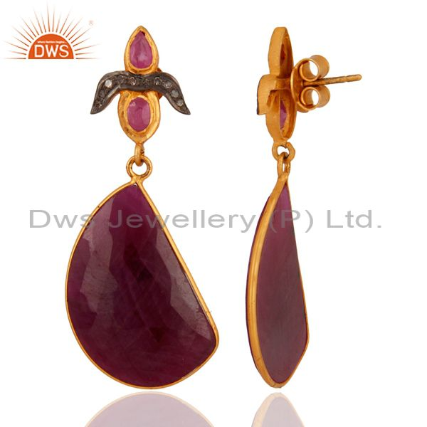 Exporter Handmade Natural Ruby Pave Diamond 925 Sterling Silver Gemstone Drop Earrings