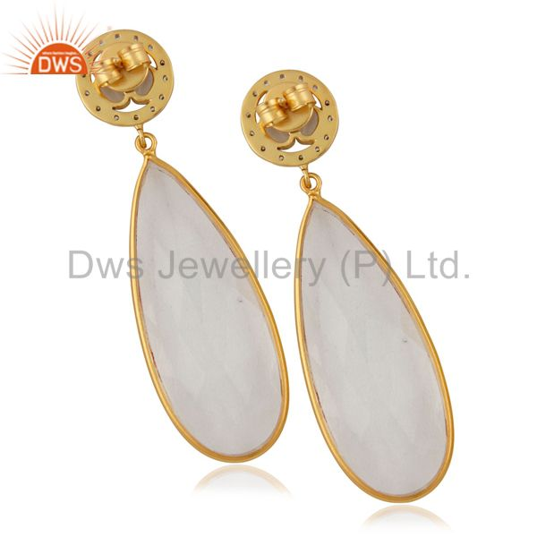 Exporter Crystal Quartz Bezel Set Fashion Drop Earrings With CZ In 14K Gold Over Brass