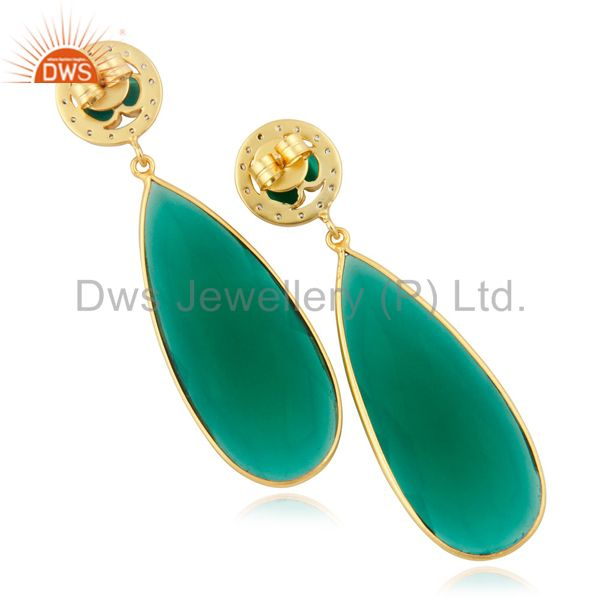 Exporter Bezel Setting Faceted Green Glass Gemstone Drop Earrings With Gold Plated