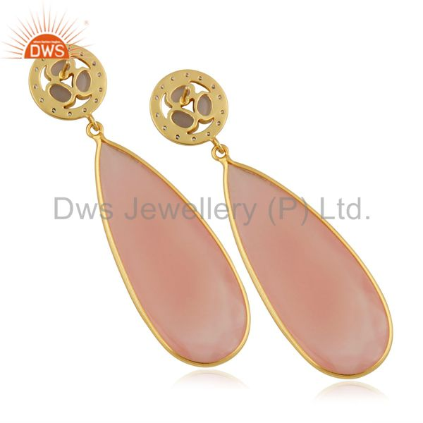 Exporter 14K Yellow Gold Plated Rose Chalceodny Bezel Set Teardrop Earrings With CZ